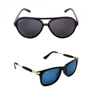 f960d2c81f Creature Black Aviator Sunglasses Combo with UV Protection (Lens-Black    Blue