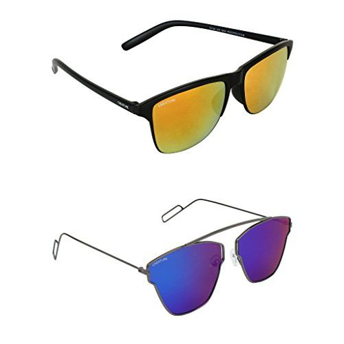 8bd175cb80 ... Creature Yellow   Blue Wayfarer Sunglasses Combo with UV Protection  (Lens-Yellow   Blue ...