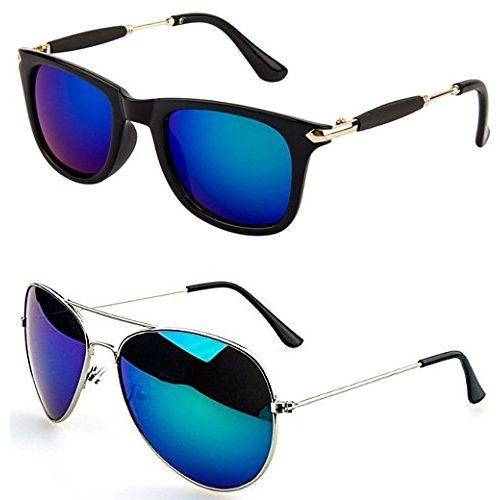 Younky Unisex Combo offer Pack of UV Protected Stylish Wayfarer Sunglasses For Men/Women/Boys & Girls (BigBBlue-BM |52|Blue) - 2 Sunglass Case