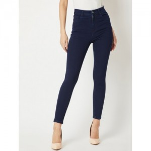 Miss Chase Navy Blue Slim Fit High-Rise Clean Look Jeans