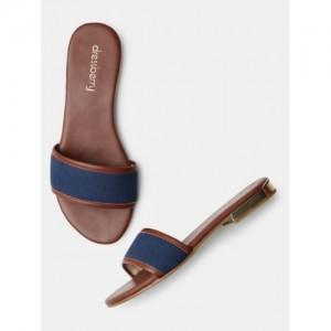 DressBerry Blue Solid Open Toe Flat Chappals