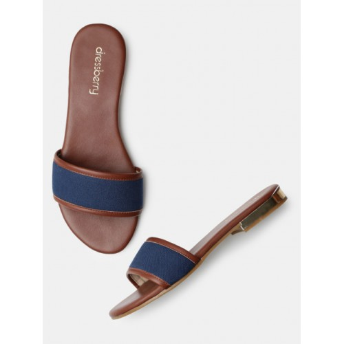DressBerry Blue Solid Open Toe Flat Chappals