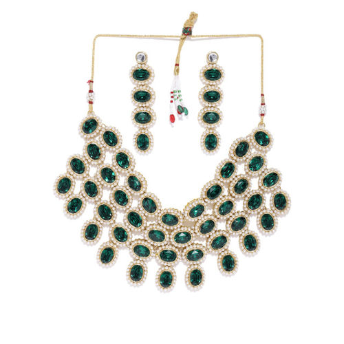 Zaveri Pearls Green Stones & Pearls Studded Traditional Jewellery Set