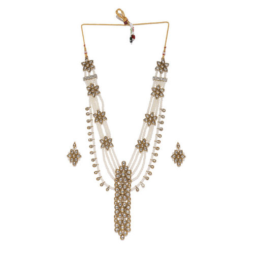 Zaveri Pearls Gold-Toned & White Long Multilayered Kundan & Pearls Floral Jewellery Set