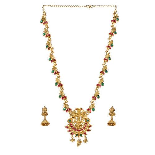 Zaveri Pearls Gold-Toned Sacred Goddess Jewellery Set