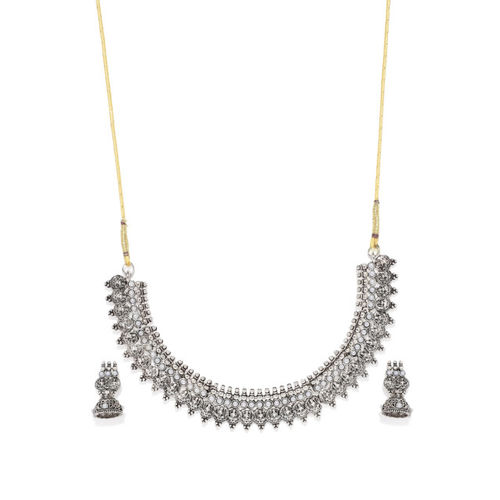 Zaveri Pearls Silver-Toned Goddess Jewellery Set