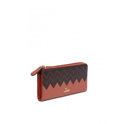 Lavie Women Peach & Brown Colourblocked Zip Around Wallet