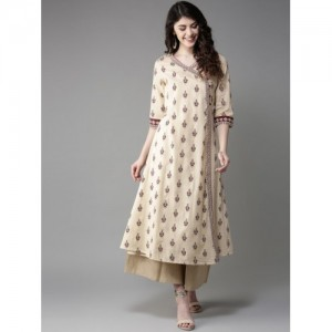 Moda Rapido Cream Cotton Printed Layered A-Line Kurta
