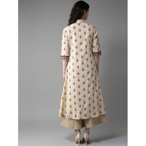 Moda Rapido Cream Cotton Printed Layered A-Line Kurta