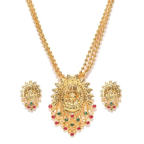 8d1044b96f3a2 Buy Zaveri Pearls Gold-Toned Goddess Lakshmi Textured Stone-Studded ...