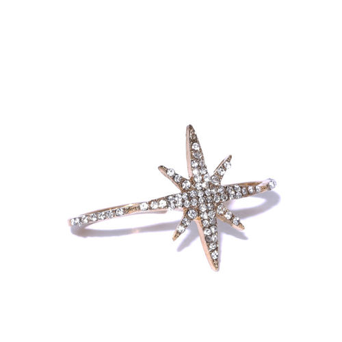 OOMPH Gold-Toned Stone-Studded Star Motif Dual Finger Ring