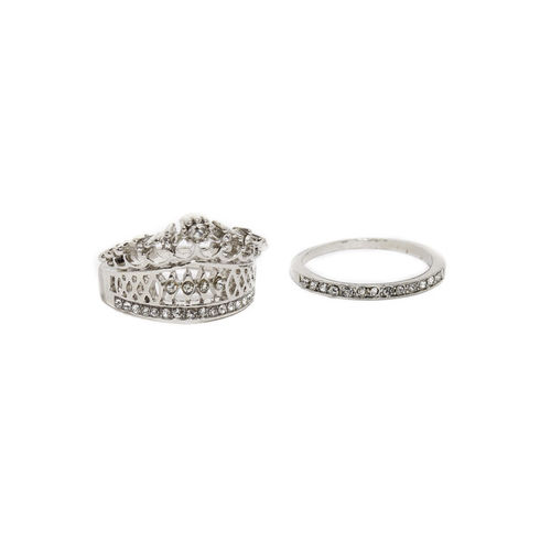 OOMPH Set of 2 Silver-Toned Stone-Studded Ring