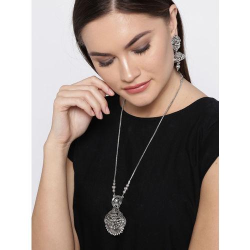 Zaveri Pearls Oxidised Silver-Toned Stone-Studded Temple Jewellery Set