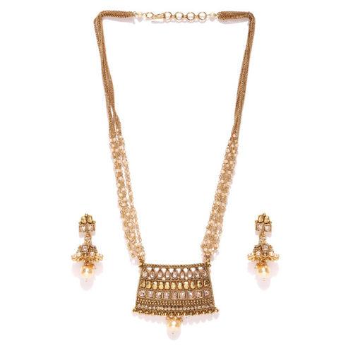 Priyaasi Cream-Coloured & Antique Gold-Toned Kundan Jewellery Set