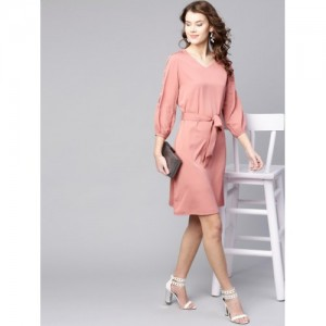 Zima Leto  Dusty Pink Polyester Solid A-Line Dress