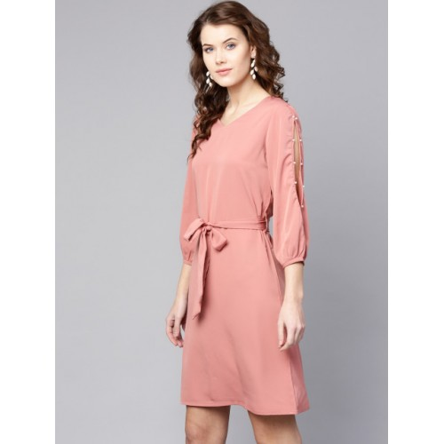 Zima Leto  Pink Polyester Solid A-Line Dress