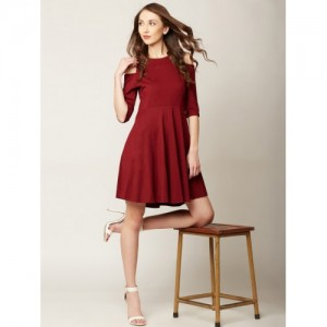 Miss Chase Maroon Cold Shoulder Solid Fit and Flare Dress