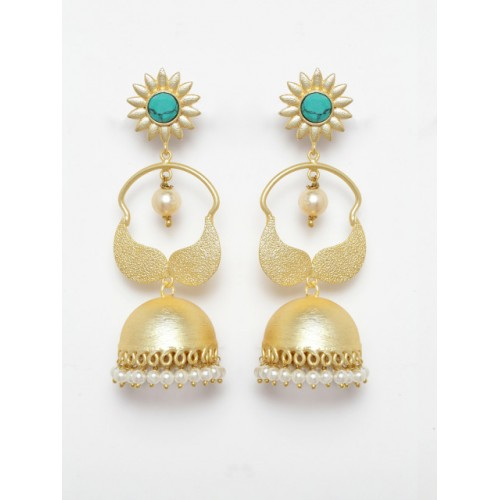 Moedbuille Gold-Toned & Turquoise Blue Dome Shaped Jhumkas