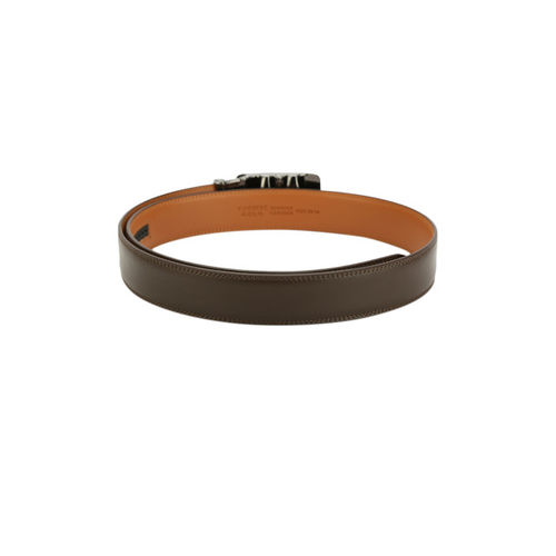 Pacific Gold Men Coffee Brown Solid Genuine Leather Belt