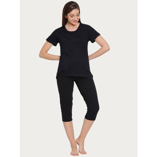 Clovia Women Black Solid Round Neck T-shirt