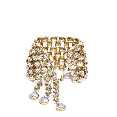 Zaveri Pearls Off-White Antique Gold-Plated Link Bracelet