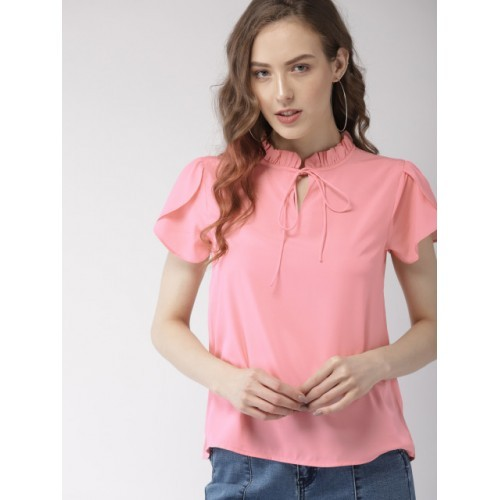 Mast & Harbour Pink Polyester Short Sleeves Solid Top
