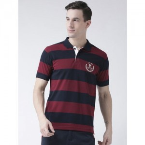 Club York Navy Blue Cotton Striped Polo Collar T-shirt
