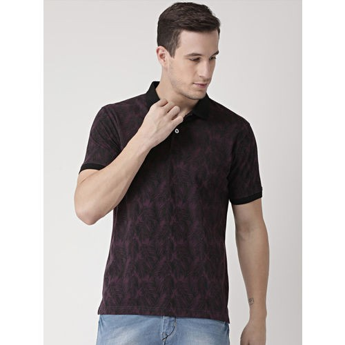 Club York Purple Printed Polo Collar T-shirt
