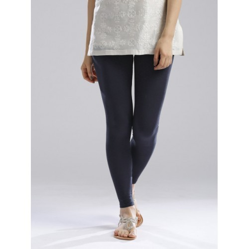 W Navy Cotton Solid Leggings