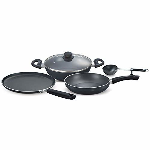 Prestige Hard Anodised Aluminium MagnaCookware Kitchen EssentialSet, 4-Pieces, Black