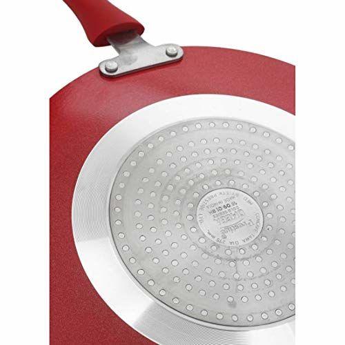 Prestige Omega Gold Induction Base Non-Stick Aluminum Concave Tawa, 250 mm, Metallic Red