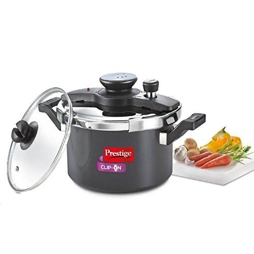 Prestige Clip On Hard Anodised pressure Cooker, 5 Litres, Silver