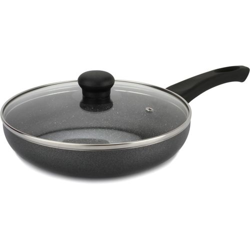 Prestige Omega Grey Non Stick With Aluminium Deluxe Granite Finish with Lid Fry Pan 24 cm diameter