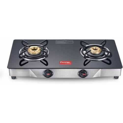 Prestige Deluxe Glass, Stainless Steel Manual Gas Stove(2 Burners)