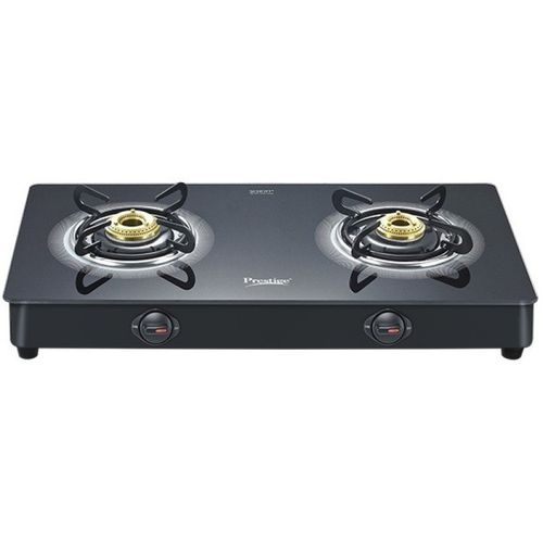 Prestige Black Royale LP Gas Table with Glass Top Glass, Aluminium Manual Gas Stove(2 Burners)