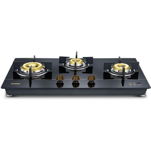 Prestige Gold Hobtop PHTG - 03 E Series Glass Automatic Gas Stove(3 Burners)