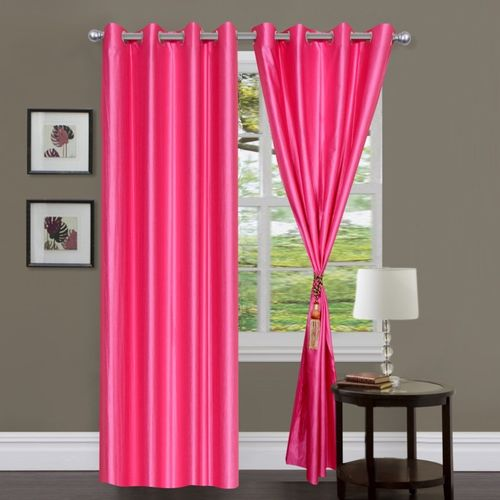 Decor World 213 cm (7 ft) Polyester Door Curtain (Pack Of 2)(Plain, Pink)