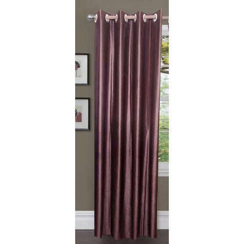 Decor World 213 cm (7 ft) Polyester Door Curtain Single Curtain(Plain, Brown)