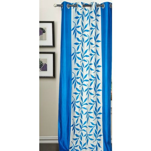 Decor World 213 cm (7 ft) Polyester Door Curtain Single Curtain(Floral, Blue)