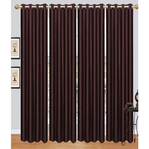 Decor World 273 cm (9 ft) Polyester Long Door Curtain (Pack Of 4)(Plain, Brown)