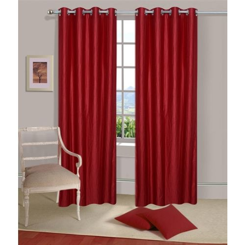 Decor World 274 cm (9 ft) Polyester Long Door Curtain (Pack Of 2)(Plain, Maroon)