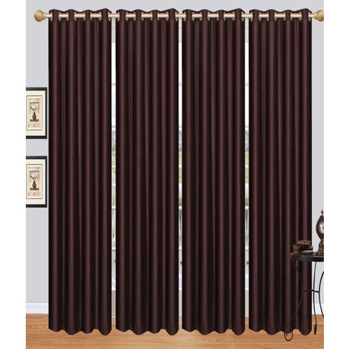Decor World 212 cm (7 ft) Polyester Door Curtain (Pack Of 4)(Plain, Brown)