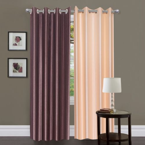 Decor World 213 cm (7 ft) Polyester Door Curtain (Pack Of 2)(Plain, Brown)