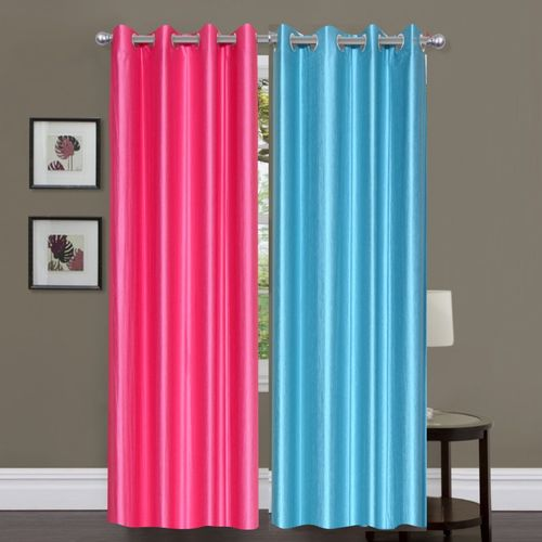 Decor World 213 cm (7 ft) Polyester Door Curtain (Pack Of 2)(Plain, Multicolor)