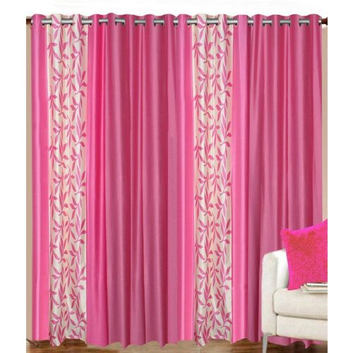 Decor World 213 cm (7 ft) Polyester Door Curtain (Pack Of 4)(Floral, Pink)