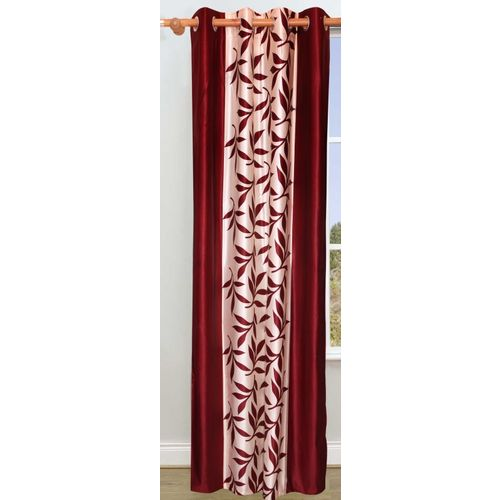 Decor World 213 cm (7 ft) Polyester Door Curtain Single Curtain(Floral, Red)