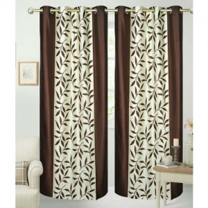 Decor World 213 cm (7 ft) Polyester Door Curtain (Pack Of 2)(Floral, Multicolor)