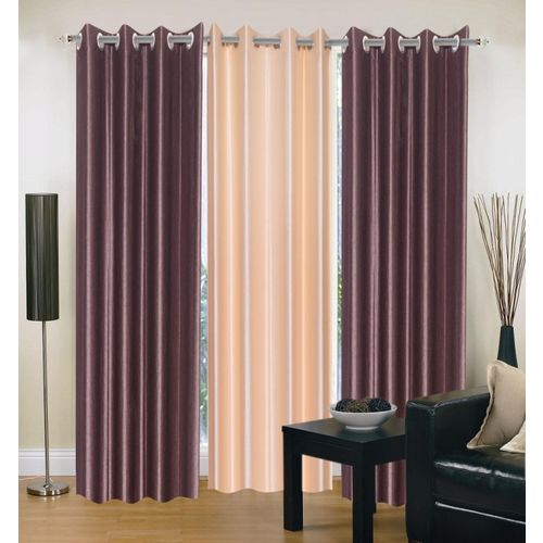 Decor World 213 cm (7 ft) Polyester Door Curtain (Pack Of 3)(Plain, Multicolor)