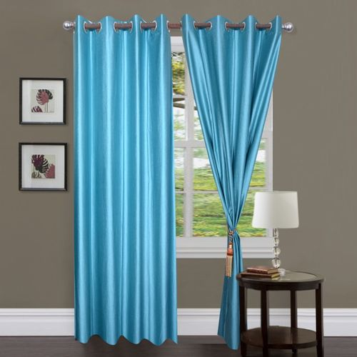 Decor World 213 cm (7 ft) Polyester Door Curtain (Pack Of 2)(Plain, Light Blue)