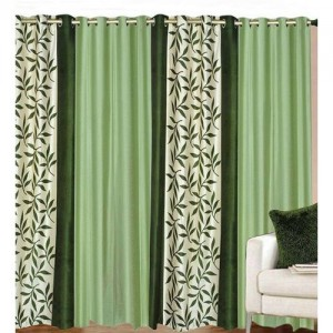 Decor World 213 cm (7 ft) Polyester Door Curtain (Pack Of 4)(Floral, Green)